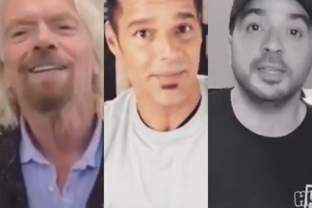 Sir Richard Branson, Ricky Martin and Luis Fonsi support a benefit concert for Venezuela