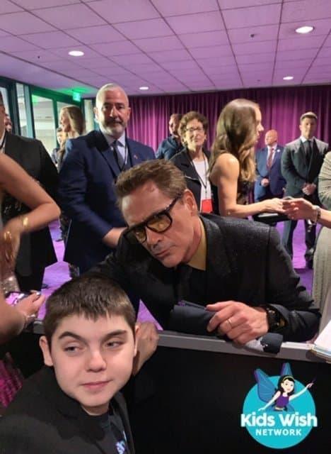 Wish Kid Nikolai meets Robert Downey Jr. at the Avengers Endgame premiere in L.A (Photo: Wish Kids Network)