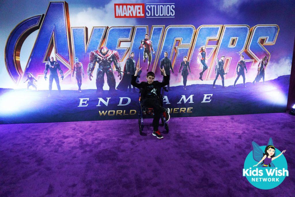 Nikolai on the purple carpet at the Avengers Endgame premiere in L.A (Photo: Wish Kids Network)