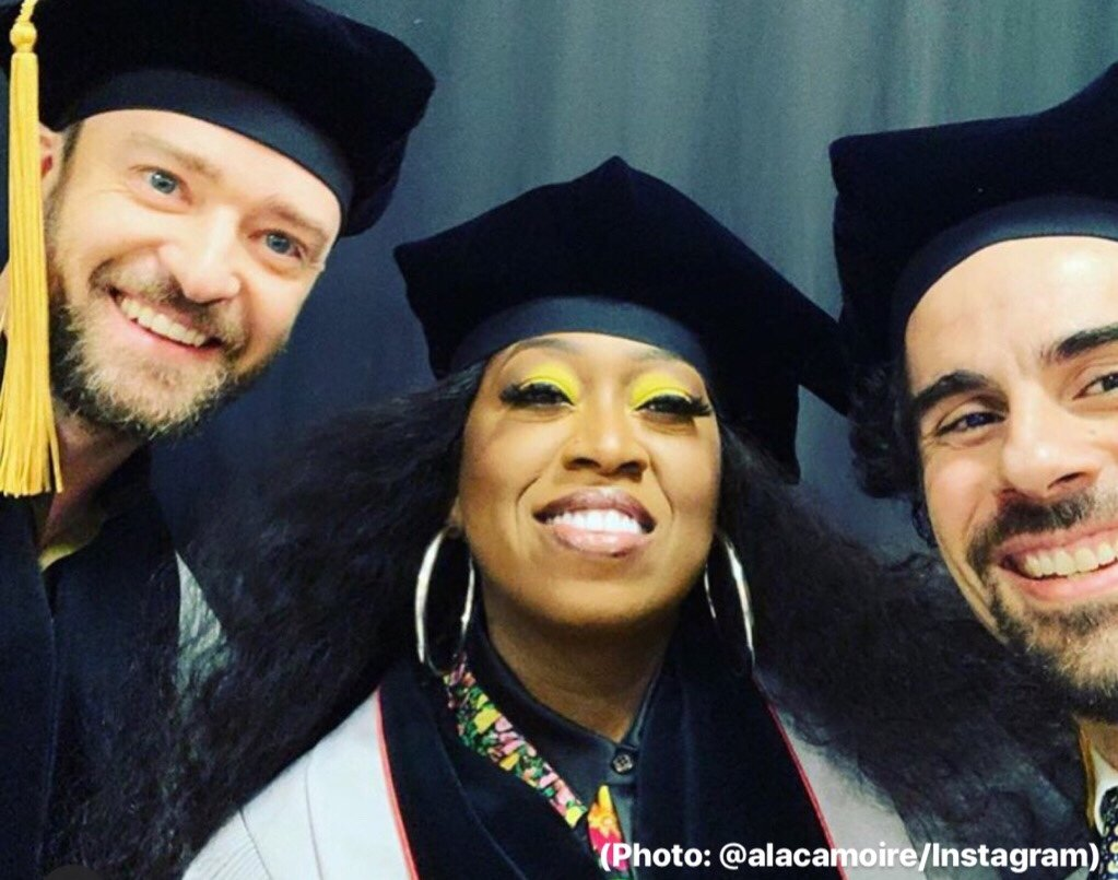 Justin Timberlake , Missy Elliot and Alex Lacamoire after receiving honorary doctorates from Berklee College of Music (Photo: @alacamoire/Instagram)