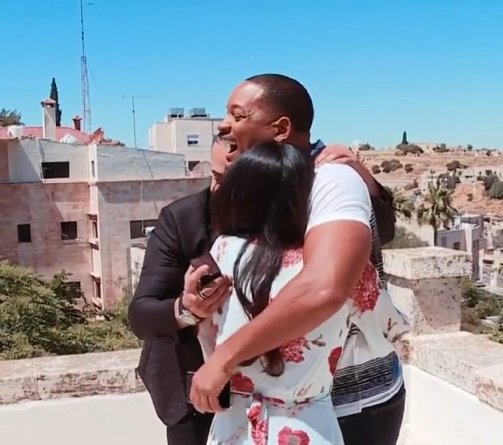 Will Smith hugging the newly engaged couple (Pic: @willsmith/Instagram)