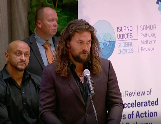 Jason Momoa speaking about the climate crisis at the United Nations in New York (Photo: UNTV)