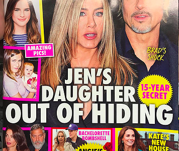 A gossip magazine falsely claims Jennifer Aniston has a secret child with Brad Pitt