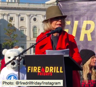 Jane Fonda attends a Fire Drill Friday gathering and is arrested for a fourth time. (Photo: @firedrillfriday/Instagram)