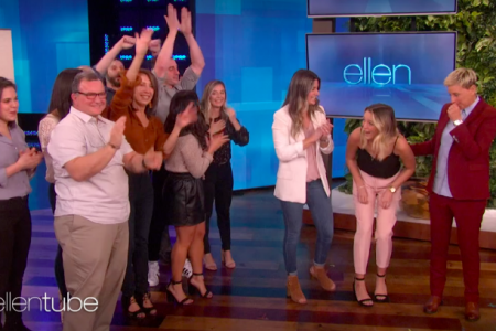 Ellen surprises same-sex couple on The Ellen Show (Photo via ellentube)