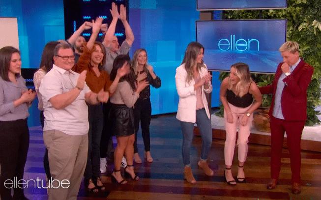 Ellen surprises same-sex couple on The Ellen Show (Photo via ellentube)
