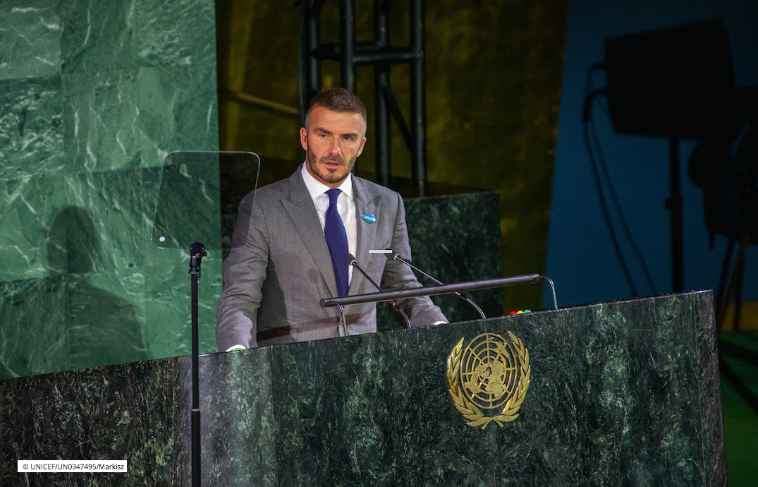 David Beckham speaking at a United Nations summit for World Children's Day 2019 (photo: © UNICEF/UN0347495/Markisz)