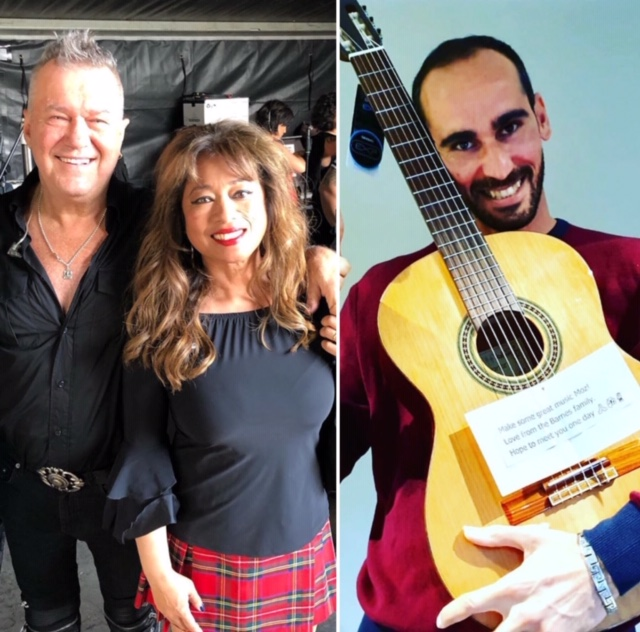 Jimmy Barnes and Jane Barnes send guitar to Moz Azimi, a refugee living in on-shore detention. (Photos: @jane13barnes/Instagram and @azimimoz/Twitter)