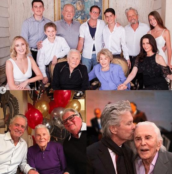 Hollywood legend Kirk Douglas with family members (Photo: @michaelkirkdouglas/Instagram)
