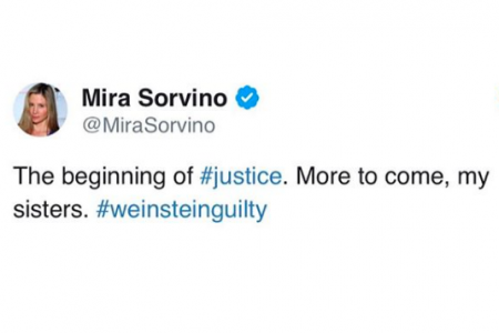Mira Sorvino's response after Harvey Wienstein was found guilty of rape (via Twitter)