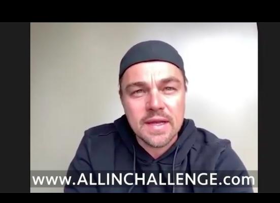 Leonardo Dicaprio announces #allinchallenge (Photo: @leonardodicaprio/Instagram)