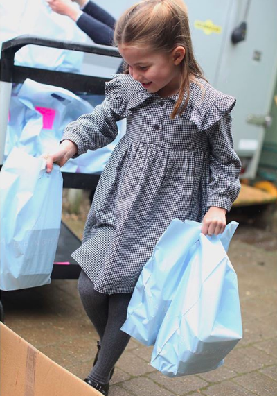Princess Charlotte helps deliver meals to isolated pensioners ahead of her 5th birthday. Photo taken by The Duchess of Cambridge, released by Kensington Palace.