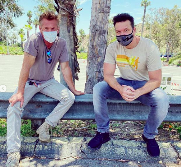 Sean Penn and Dane Cook after a day of testing thousands of people for COVID-19 in Los Angeles (Photo courtesy CORE)