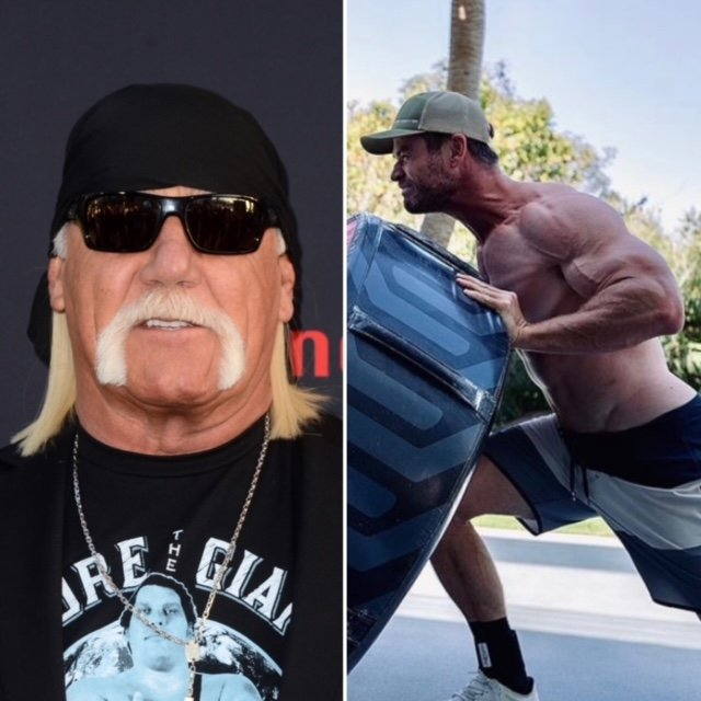 Hulk Hogan wears a black bandana, black sunglasses and a black t-shirt with light blue print on it. He has his signature blonde moustache that goes down to his chin. Next to his pic is a photo of a shirtless Chris Hemsworth, muscles bulging in his arm as he pushes a giant tyre. He wears a baseball cap and black and white board shorts.