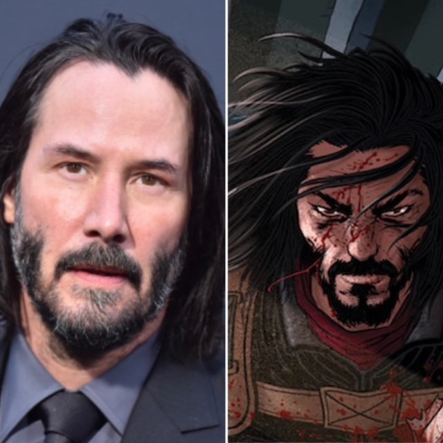 A photo of Keanu Reeves looking serious at a red carpet event. His hair is shoulder length and he has a moustache and beard. He wears a grey suit, shirt and tie. Next to his photo is a graphic from his new comic book series BRZRKR. It shows an image of a serious looking man with shoulder-length hair blowing across his face. He has a moustache and beard, and some blood splattered on him.
