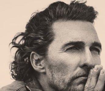 "Matthew McConaughey's book ""Greenlights"" which features a close up image of his face on the cover, looking pensive."