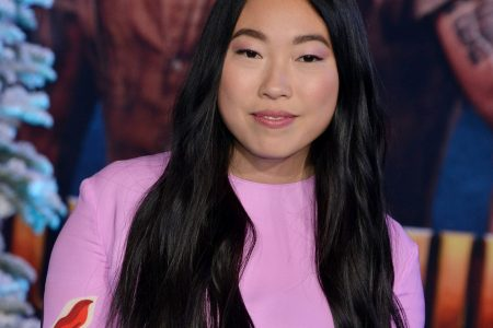 Awkwafina smiles at a red carpet event. She wears a long-sleeve pink dress. Her black hair sits long on her chest.