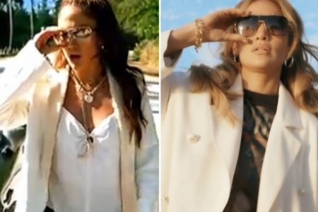 "A still from Jennifer Lopez's clip ""Love Don't Cost A Thing"" wearing a cream jacket, gold jewellery and sunglasses, and a photo of her in 2021 wearing an almost identical outfit."