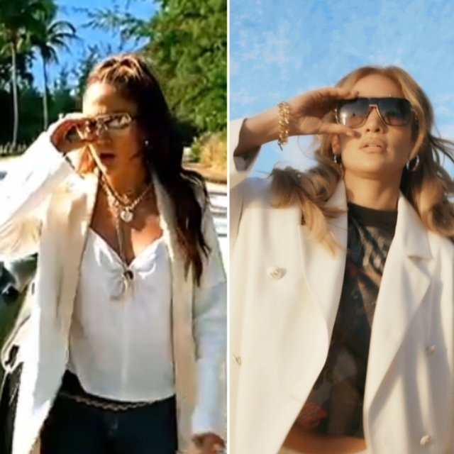 """A still from Jennifer Lopez's clip """"Love Don't Cost A Thing"""" wearing a cream jacket, gold jewellery and sunglasses, and a photo of her in 2021 wearing an almost identical outfit."""