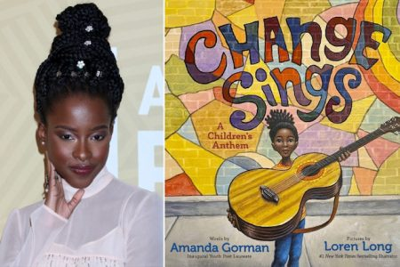 "A photo of Amanda Gorman at a red carpet event, next to a photo of the cover of her children's book ""Change Sings"""