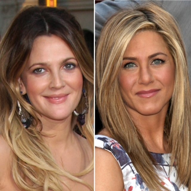 Drew Barrymore and Jennifer Aniston smiling at red carpet events.