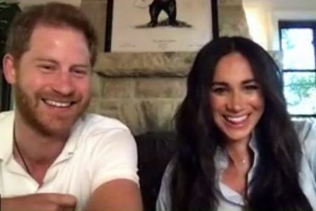 Prince Harry and Duchess Meghan take part in a zoom call with Get Lit