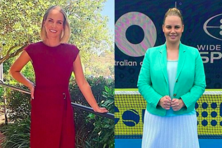 Two photos of Jelena Dokic side by side. In the first she wears a red dress and has her blonde hair out above her shoulders. In the second she wears a green coat and pale dress with her hair up in a bun.