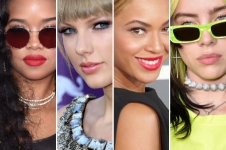 H.E.R, Taylor Swift, Beyonce and Billie Eilish pose for the camera on various red carpets.