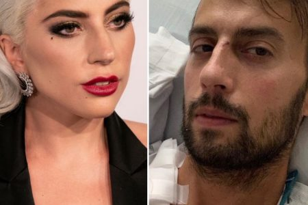 Lady Gaga at a red carpet event wearing bright red lipstick and a black dress. Her dog walker Ryan Fischer in a hospital bed.