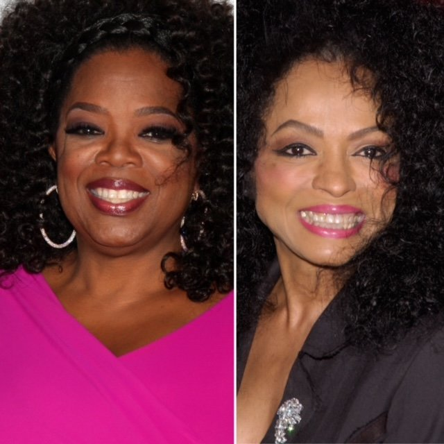 Oprah Winfrey and Diana Ross smiling at two red carpet events. Oprah wears a hot pink tip and hoop earrings. Diana wears a suit jacket with a diamond brooch.