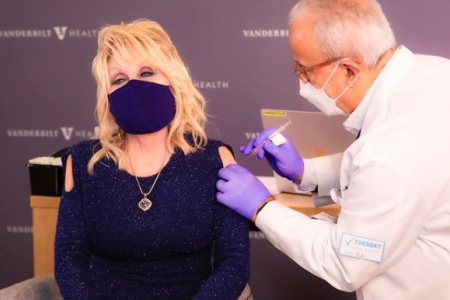 Dolly Parton gets the Moderna COVID-19 vaccine.