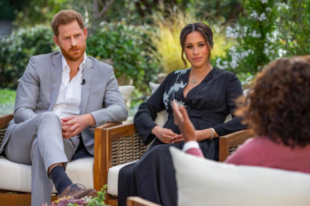 Harry and Meghan sitting for an interview with Oprah Winfrey