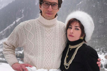"""Adam Driver and Lady Gaga on the set of """"House of Gucci"""""""
