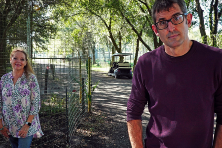 Carole Baskin and Louis Theroux stand outdoors for a new interview.