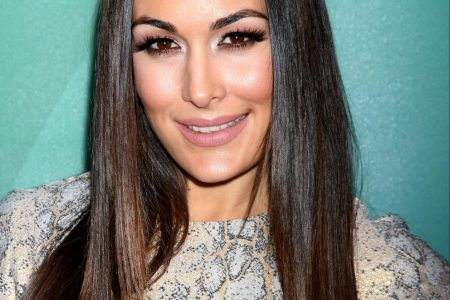 Brie Bella smiles at a red carpet event. She has long straight brown hair and wears a dress that resembles light snakeskin.