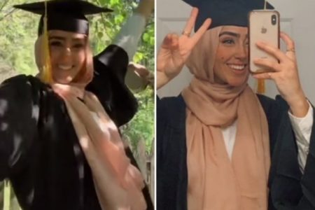 MuslimThicc's Zahra wears her graduation gown and cap and poses for a pic.