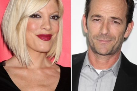Tori Spelling and Luke Perry smiling at red carpet events.