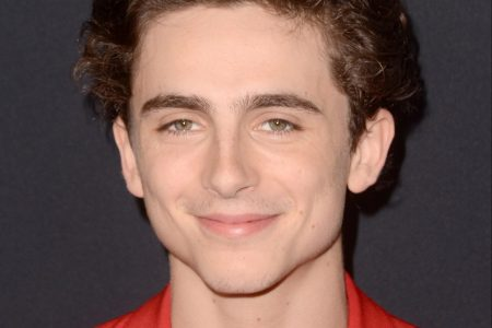Timothée Chalamet wears a red jacket and shirt, and smiles at a red carpet event.