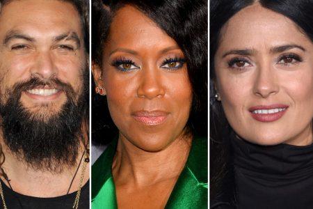 Jason Momoa, Regina King and Salma Hayek smile at red carpet events.
