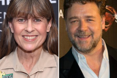two photos of Terri Irwin and Russell Crowe smiling at separate red carpet events