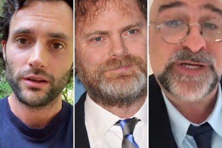 Penn Badgley, Rainn Wilson and Omid Djalili