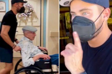 Zac Efron pushing his grandpa's wheelchair through the retirement home.