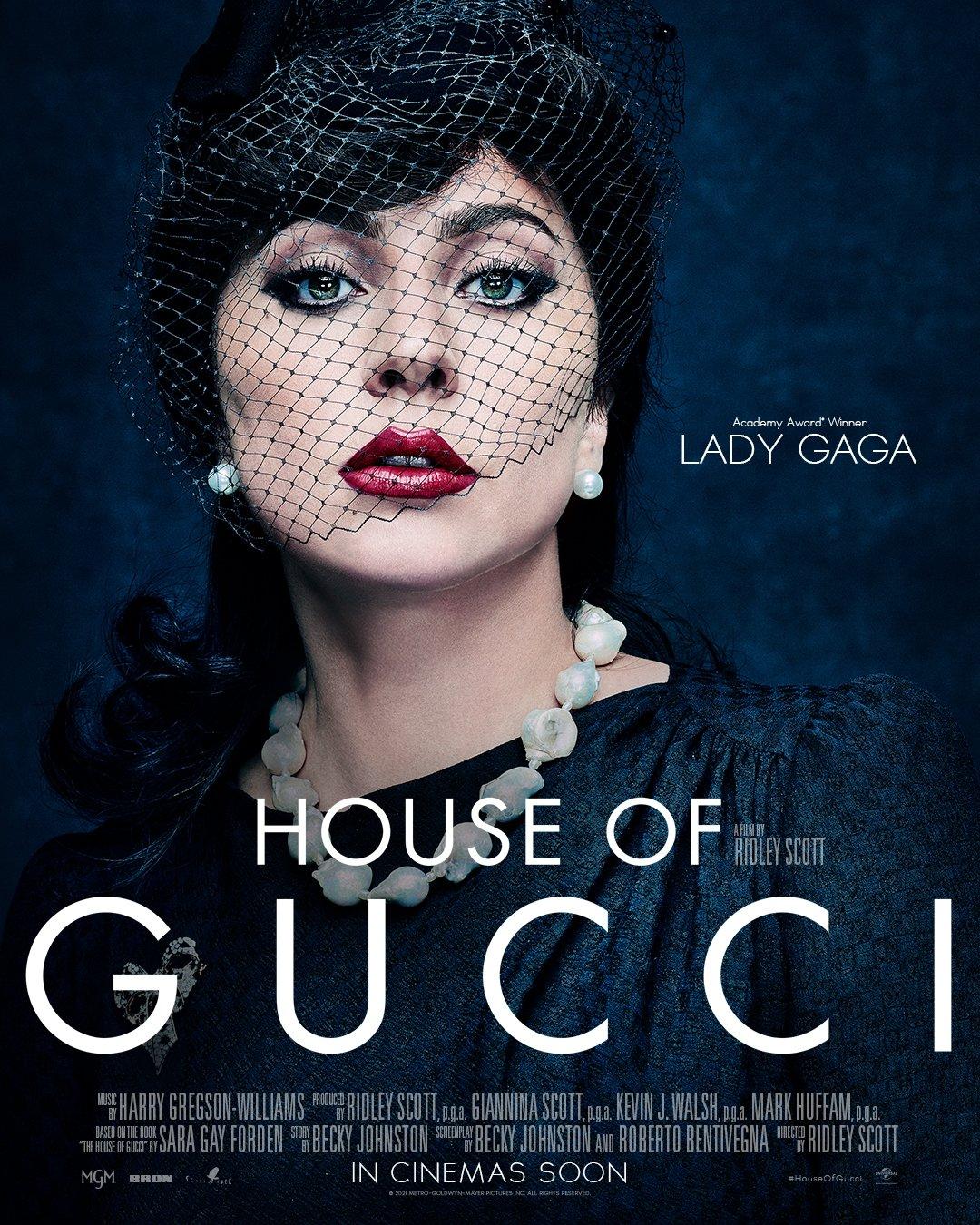 House of Gucci promo poster featuring Lady Gaga as Patrizia Regianni