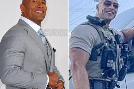 The Rock and his lookalike, a police officer in Alabama.