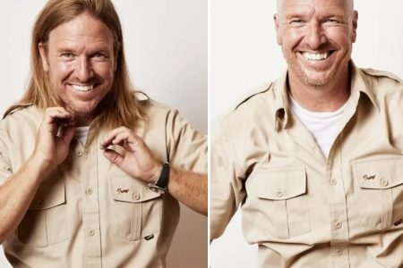two photos of Chip Gaines side by side. In the first he has long hair and in the second he has shaved head.