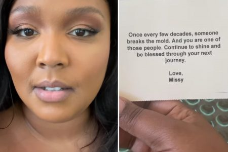A still from Lizzo's story and a screenshot of a note Missy Elliot sent to Lizzo