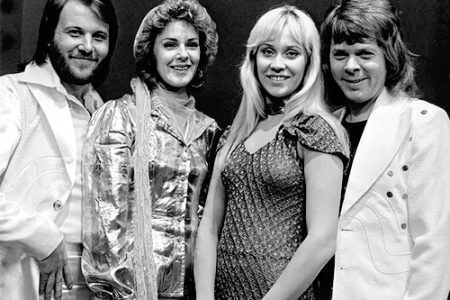 a black and white photo of ABBA