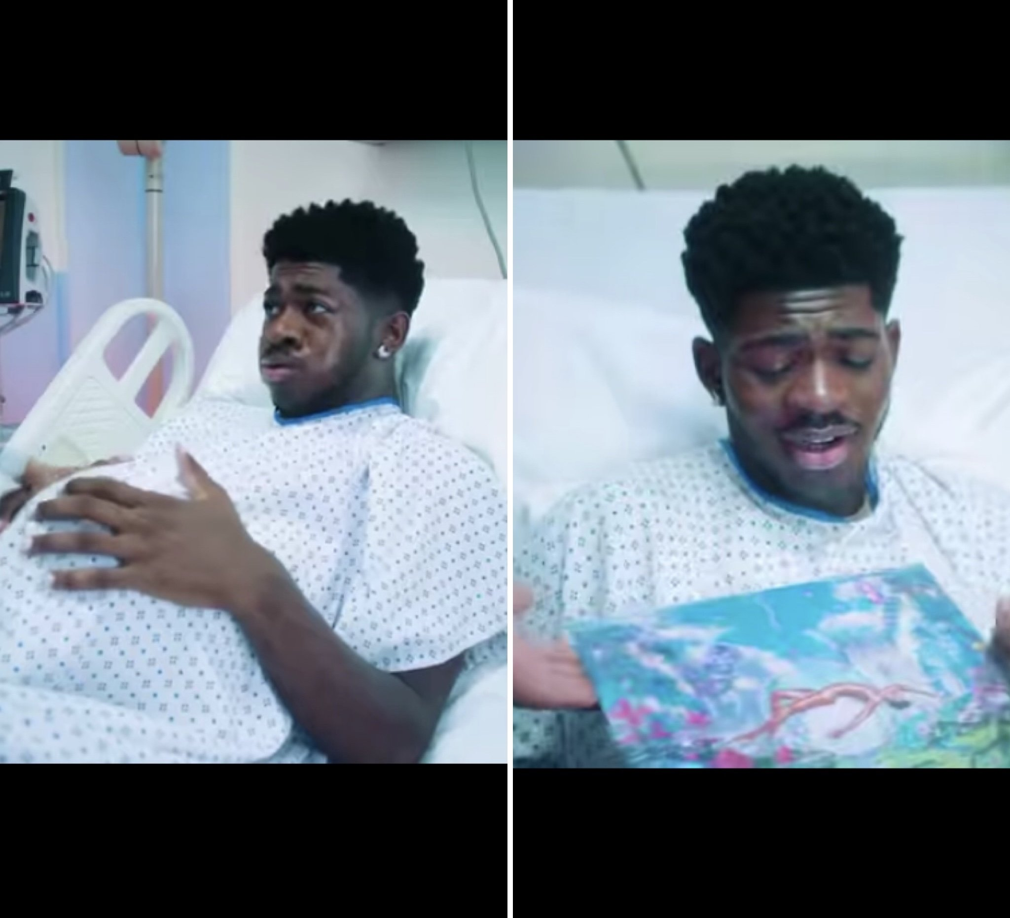 """Lil Nas X in a hospital bed, delivering his new album """"Montero"""""""