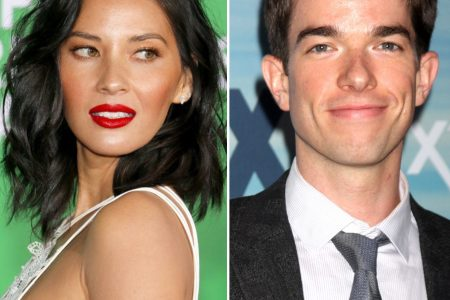 Two photo side by side, one of Olivia Munn in a strappy white dress, looking over her shoulder at a red carpet event. The other of John Mulaney wearing a suit and tie, smiling at the camera.