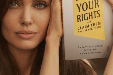 """Angelina Jolie with """"Know Your Rights and Claim Them"""""""